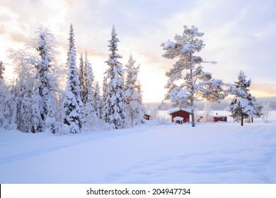 Winter landscape with house at Kiruna Sweden lapland