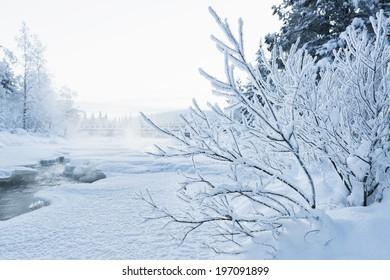 Winter landscape, Kiruna, Lapland, Sweden
