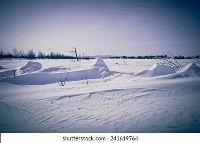 Winter landscape at Lake Baikal. Toned.