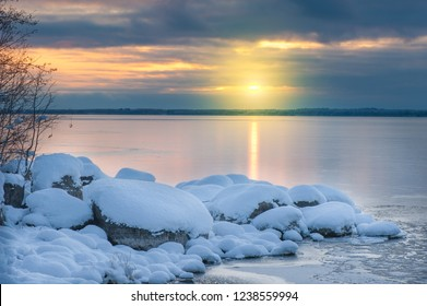 Winter landscape at the lake shore