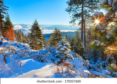 Winter landscape from Lake Tahoe, with Sun star.