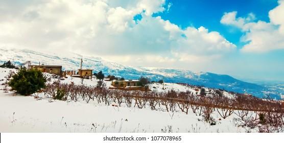 Winter landscape of Lebanon mountains, Lebanon. Nature panorama