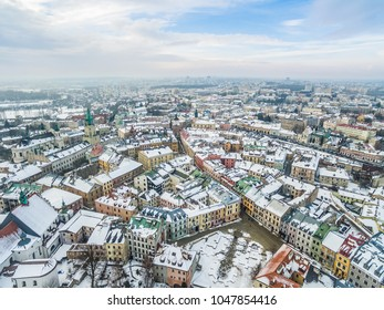 Winter landscape of Lublin - Po Farze Square, Grodzka Street. Lublin - the old town from a bird's eye view.