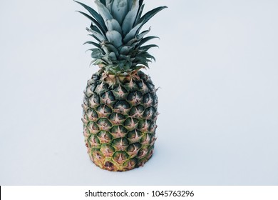 Winter landscape made of fresh pineapple and snow in the sunlight. Tropical fruit on white snow concept