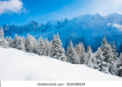 Winter landscape of Mont Blanc from chalets de Chailloux, Chamonix, France