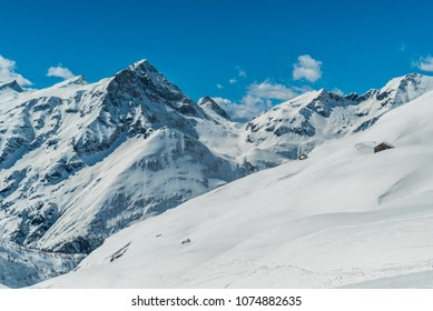 Winter Landscape in Monte Rosa Massif, Italy. Glacier on the mountain. Big glacier of Monterosa. magnificent monte rosa massif with several high summits.