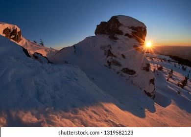 Winter landscape.  Mountain landscape with winter