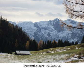 Winter landscape mountain view with hut in foreground, Austria
