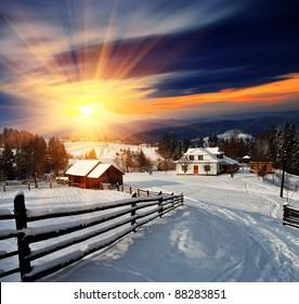 Winter landscape. Mountain village in the Ukrainian Carpathians.