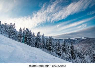 Winter landscape in mountains. Carpathian, Ukraine