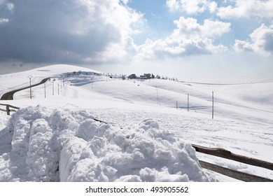 Winter landscape with mountains covered with fresh snow.