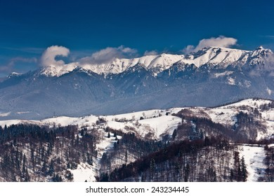 Winter landscape with mountains filled with snow