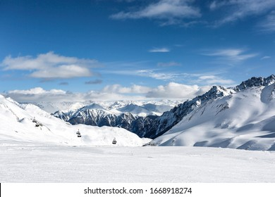 Winter landscape of mountains and sunny cold day.Free space for your decoration.