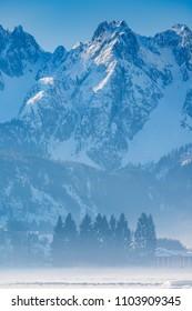 Winter landscape near the lake Vorderer Gosausee. Austria
