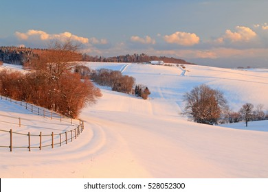 Winter landscape near the village of Burtigny, canton of Vaud, Western Switzerland