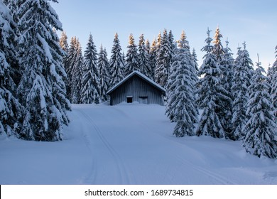 winter landscape in Norway with a lot of snow covered on the ground and snow covered trees. beautiful winter scene  - Shutterstock ID 1689734815