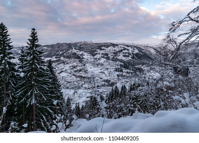 Winter landscape in Norway trees mountains