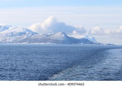 Winter landscape of the Norwegain sea near Tromso North of Norway