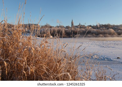 Winter landscape Oka river