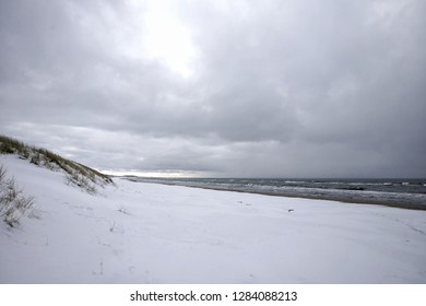 winter landscape on the Baltic Sea near the town of Neringa Nida, on the Curonian Spit in Lithuania