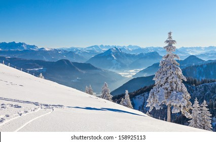 Winter landscape on a beautiful cold and crisp day in the Bavarian Alps