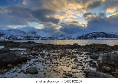 Winter landscape on the fjord on Senja Island, Troms County, Norway