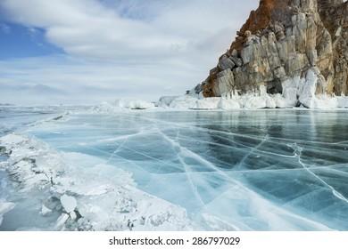 Winter landscape on the lake Baikal