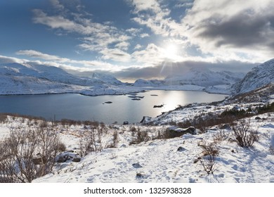 Winter landscape on the Lofoten islands, Norway, Europe
