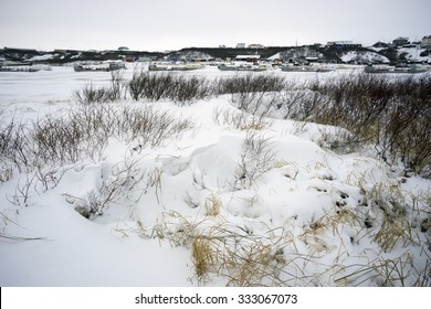 Winter landscape on the river Taz in the Yamal Peninsula.