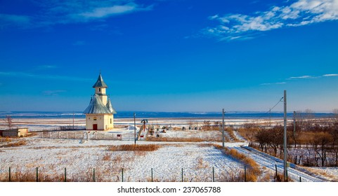 Winter landscape with orthodox church in Stanca village, Iasi, Romania.