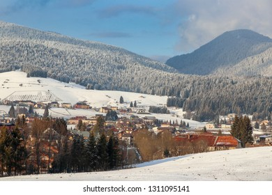 Winter landscape, panorama of the city of Asiago in the province of Vicenza in northern Italy