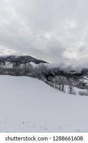 Winter Landscape Panorama View Radenthein Carinthia Austria