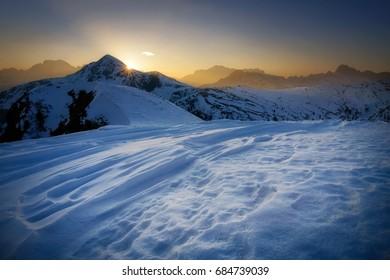 Winter landscape of Passo Giau during sunset, Dolomites, Italy
