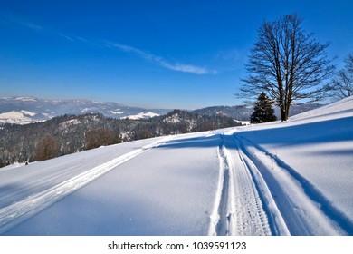 Winter landscape in Pieniny mountains, Poland