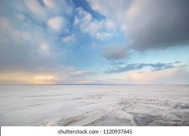 Winter landscape plain. Composition of nature.