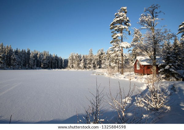 Winter landscape red house