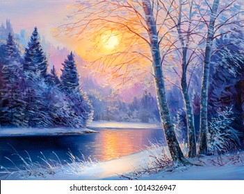 Winter landscape with the river.Original  oil painting.