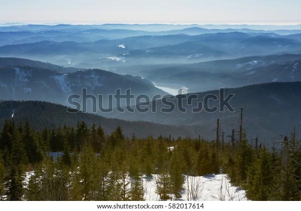 Winter landscape scenery, Beskydy mountains, Czech republic