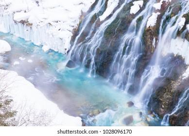 Winter landscape of Shirahige waterfall in Biei, Hokkaido, Japan