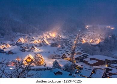 Winter Landscape of Shirakawago light-up with Snowfall Gifu Chubu Japan