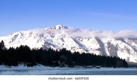 Winter landscape in the Sierra Nevada mountains in California