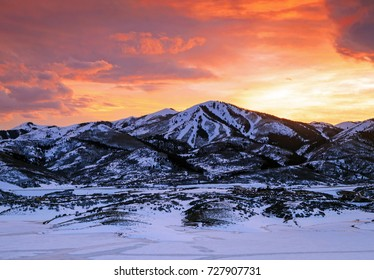 Winter landscape with ski runs, Deer Valley, Utah, USA.