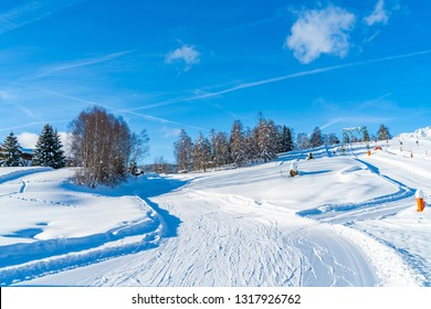 Winter landscape with with ski slopes in Seefeld in the Austrian state of Tyrol. Winter in Austria