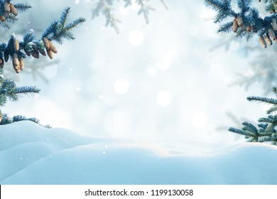 Winter landscape with snow. Christmas background with fir tree branch and cones
