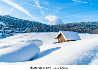Winter landscape with with snow covered Alps in Seefeld in the Austrian state of Tyrol. Winter in Austria