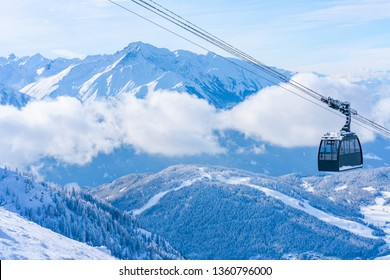 Winter landscape with snow covered Alps in Seefeld in the Austrian state of Tyrol. Winter in Austria