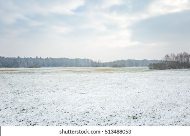 Winter landscape with snow covered countryside. European winter landscape.