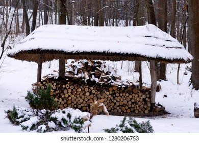 Winter landscape with snow and fir trees. Firewood under a canopy. Firewood for the winter.