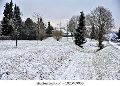 Winter Landscape with Snow, Giengen/Brenz, Swabian Alb, Germany, Europe