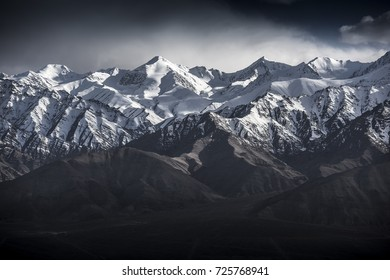 Winter landscape snow mountain with blue sky from Leh Ladakh India.